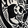 'Black and White Ruffed Lemurs' - Woodcut print on  Kozu shi Japanese hand made paper - Edition of 30. Image size approx 22x32cm