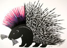 'Punky Porcupine' - Woodcut print - Edition of 50. Image size approx 36x26cm